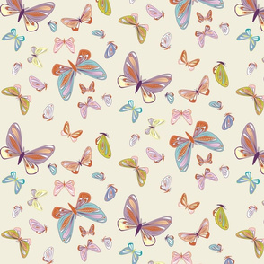 small - moths in multicolor on natural