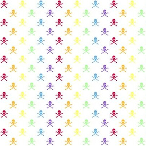 Rainbow Half Inch Skull and Crossbones on White