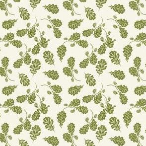 TINY - Oak leaves nature botanical fall autumn fabric pattern green