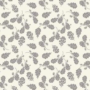 TINY - Oak leaves nature botanical fall autumn fabric pattern cream