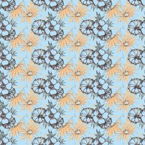 cornflower blue and peach