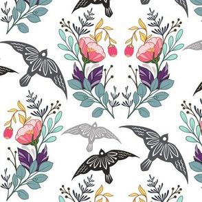 Birds and Poppy Flowers