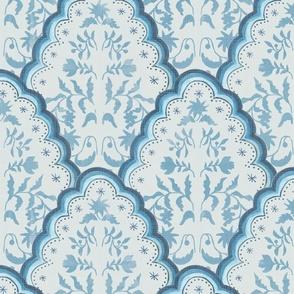 Large BLUE SCALLOPED EDGES PAISLEY TEXTURE
