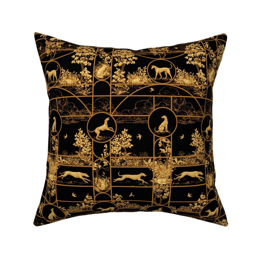 Catalan Throw Pillow featuring Autumn Greyhounds Black ©2011 by Jane Walker by artbyjanewalker