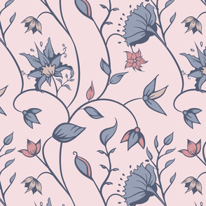 Indian Florals in Soft Colors Seamless Pattern.