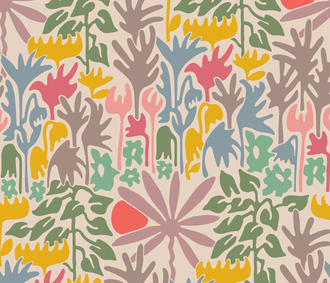 Eden Floral Abstract Garden-LARGE-Scale Repeat-Pink Orange Blue Green Gray UnBlink Studio Jackie Tahara