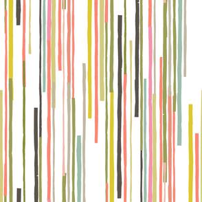 Paper Cut Stripes M+M Multi Warm Greens by Friztin