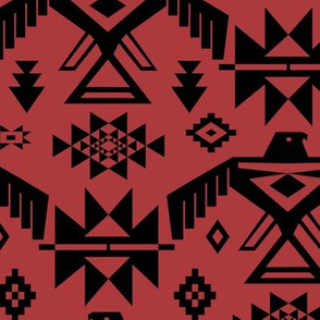 Southwestern Thunderbird Kilim in Rust Red + Black Onyx