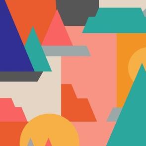 Mountain Views + Sunset Vistas // Color Blocking // Amazing Views // Mountain, Mesa, Desert, Nature, Peak, Iceberg, Hiking, Sunrise, Sun, Rays, Geometric // Cobalt, Coral, Marigold, Turquoise, Cream, Slate, Butter, Orange, Persimmon © ZirkusDesign