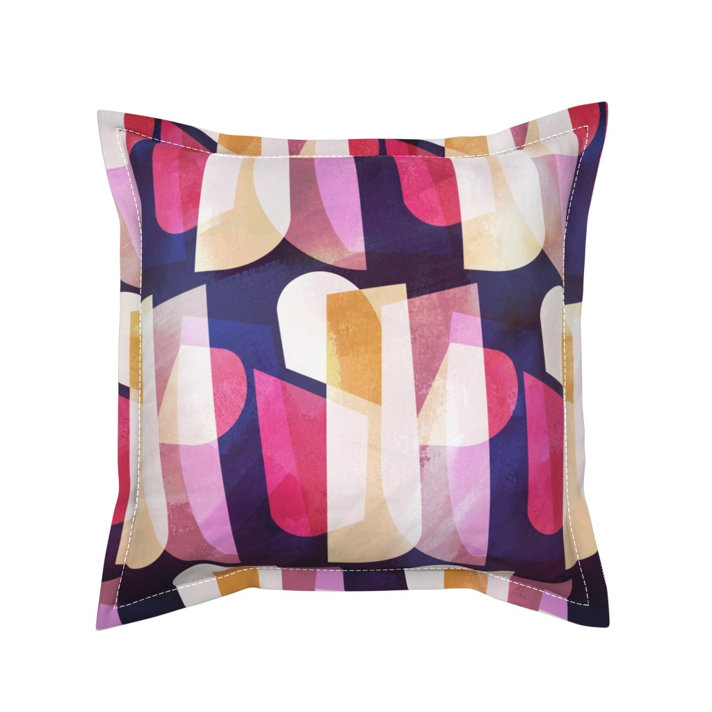 Serama Throw Pillow featuring Shapely Color Blocks by jenflorentine