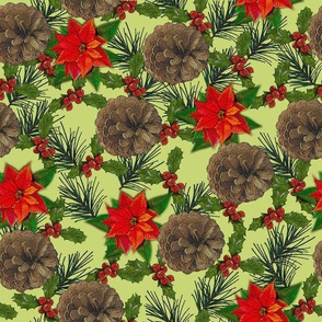 Pointsettias, Pine Cones and Holly - Oh My