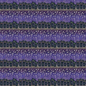 black kitty cats and stars on purple