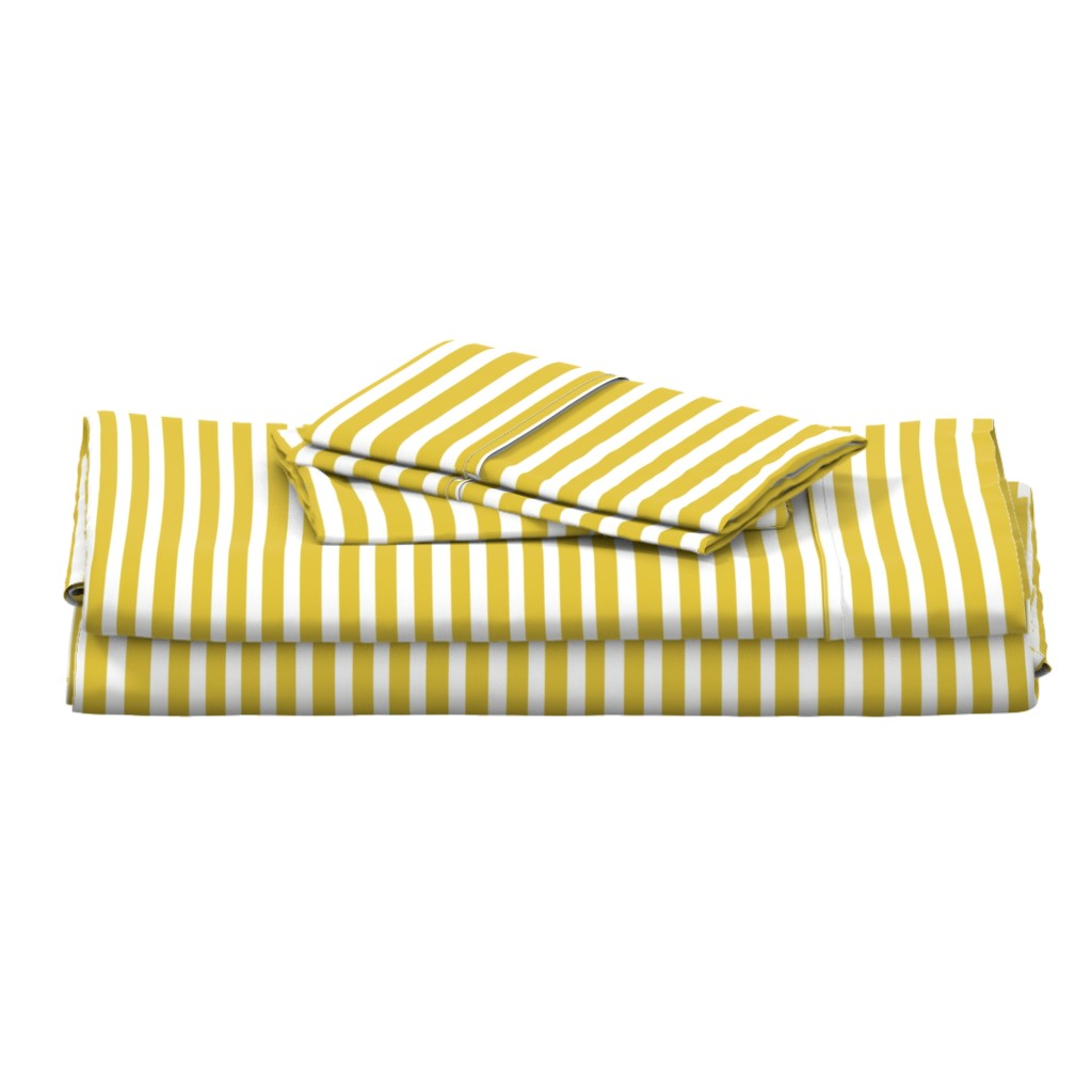 Langshan Full Bed Set featuring Mustard Stripe // Seagull Surprise Coordinate by nanshizzle