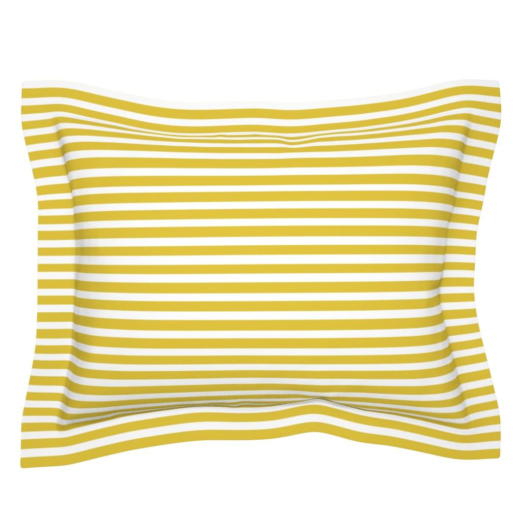 Sebright Pillow Sham featuring Mustard Stripe // Seagull Surprise Coordinate by nanshizzle
