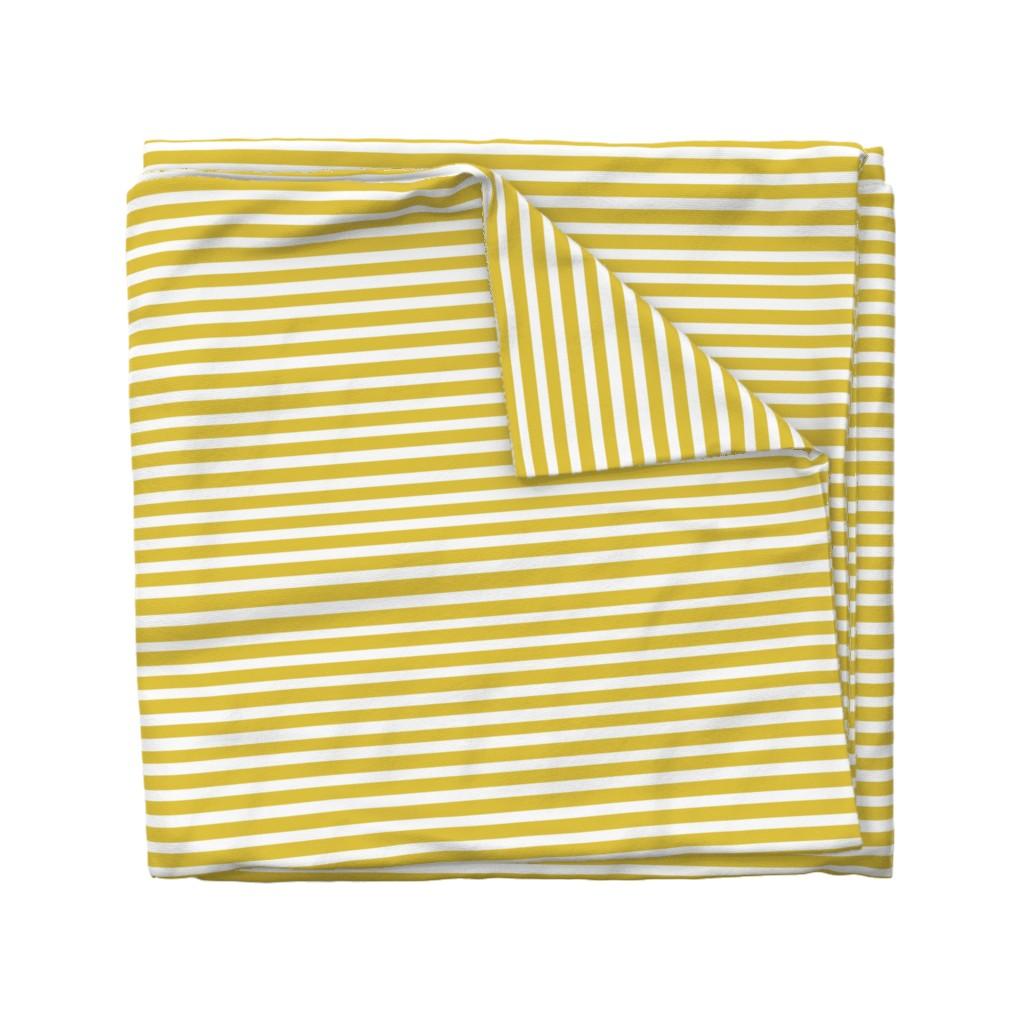 Wyandotte Duvet Cover featuring Mustard Stripe // Seagull Surprise Coordinate by nanshizzle