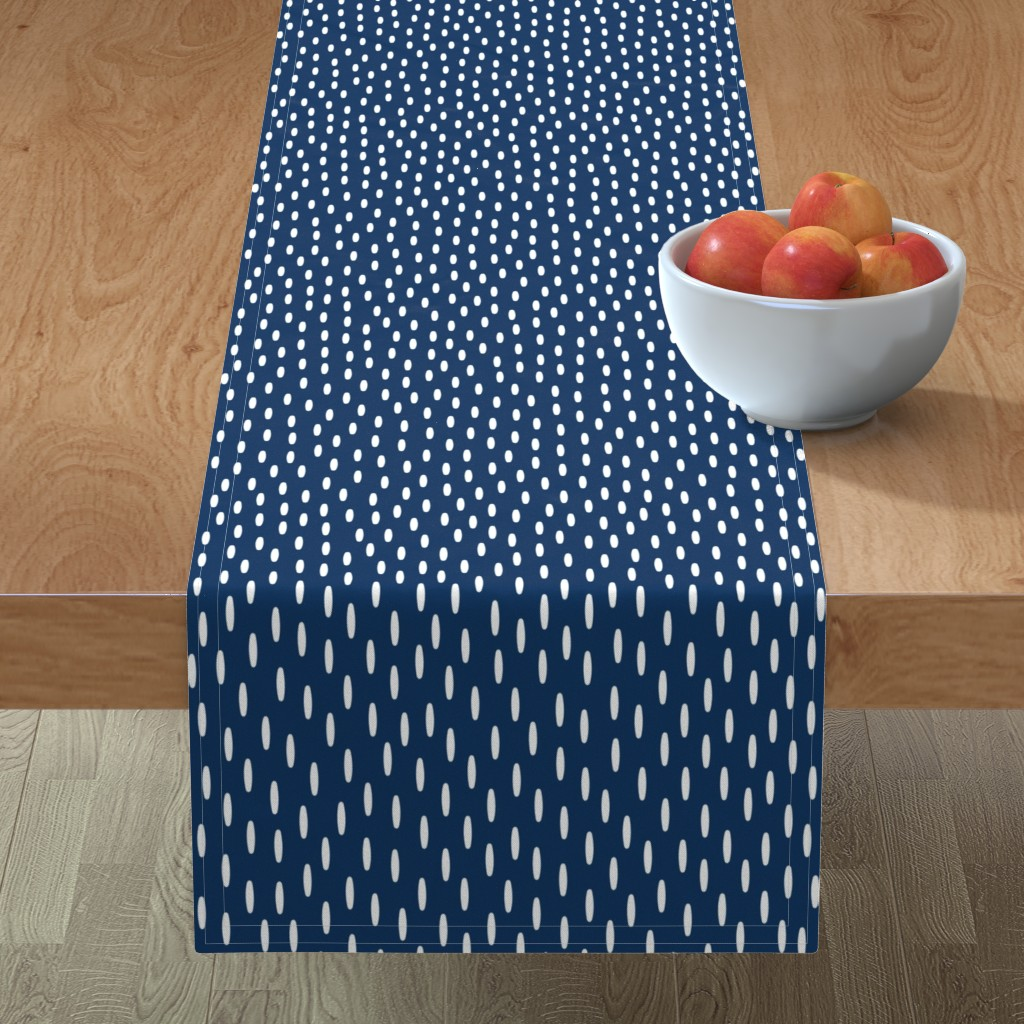 Minorca Table Runner featuring Navy Speckle // Seagull Surprise Coordinate by nanshizzle