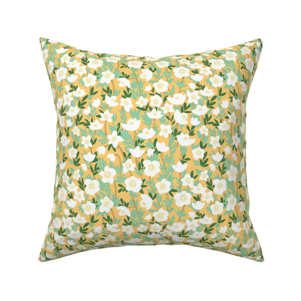 Catalan Throw Pillow featuring lemonade wildflowers in orange by lzcathcart