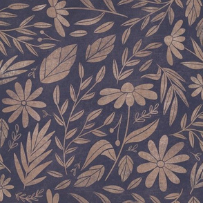 Boho Floral Dreams  - textured floral in neutral tan and blue. Featuring daisies and leaves