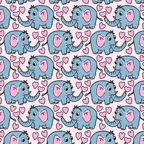 Safari Elephant Love Heart Pattern
