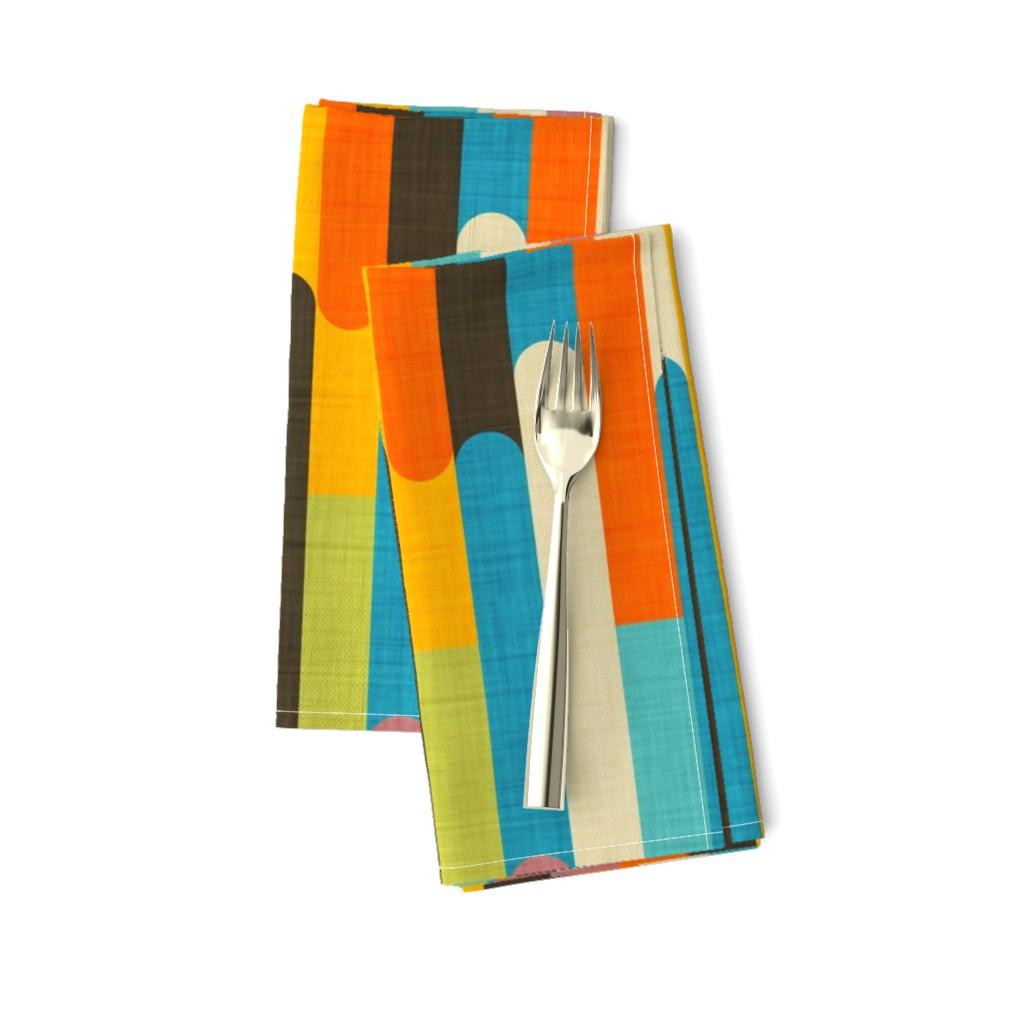 Amarela Dinner Napkins featuring Retro Color Block Popsicle  Sticks Orange by bruxamagica