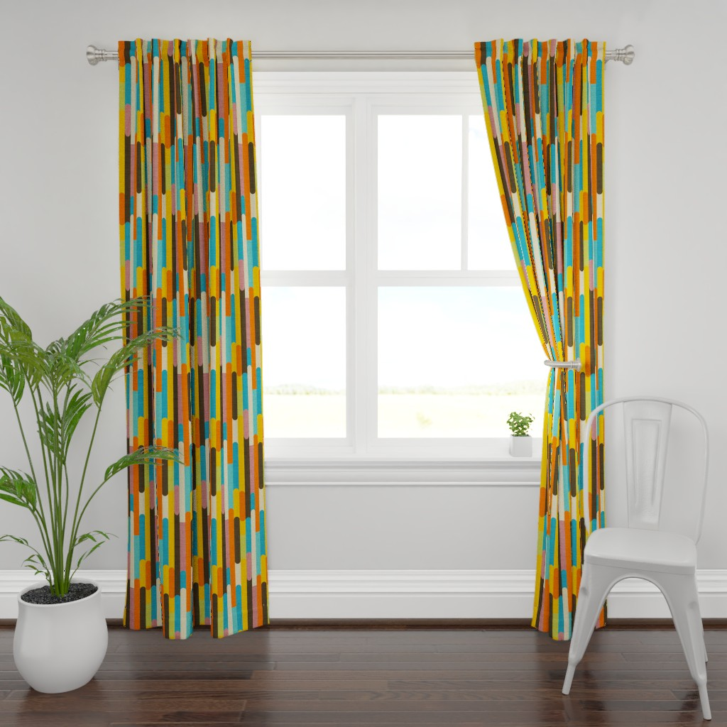 Plymouth Curtain Panel featuring Retro Color Block Popsicle  Sticks Orange by bruxamagica