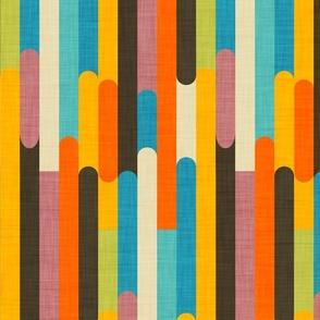 Retro Color Block Popsicle  Sticks Orange