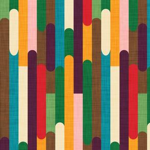 Retro Color Block Popsicle  Sticks Kilim