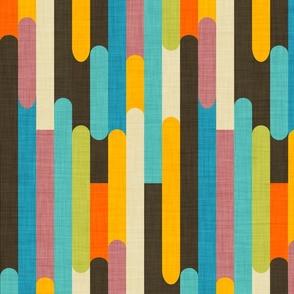 Retro Color Block Popsicle  Sticks Brown