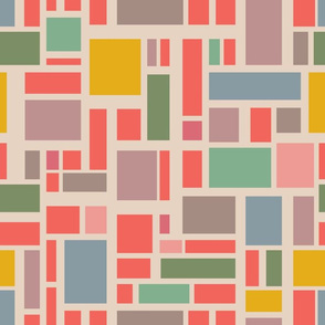 Utopia Abstract Geometric Color Block Grid Coral Yellow Pink Blue Green Gray UnBlink Studio Jackie Tahara