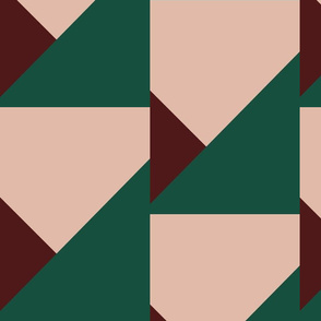 Modern Quilt in Burgundy and Green