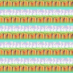 white bunny rabbits rainbow carrots on lilac stripes