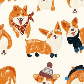 Winter Corgi's with stocking hats and socks