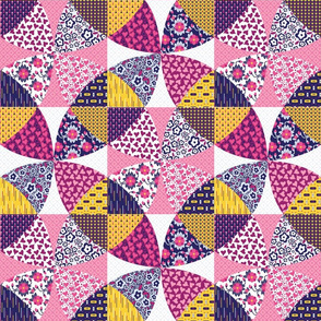 Pink Geometric Floral Cheater Quilt