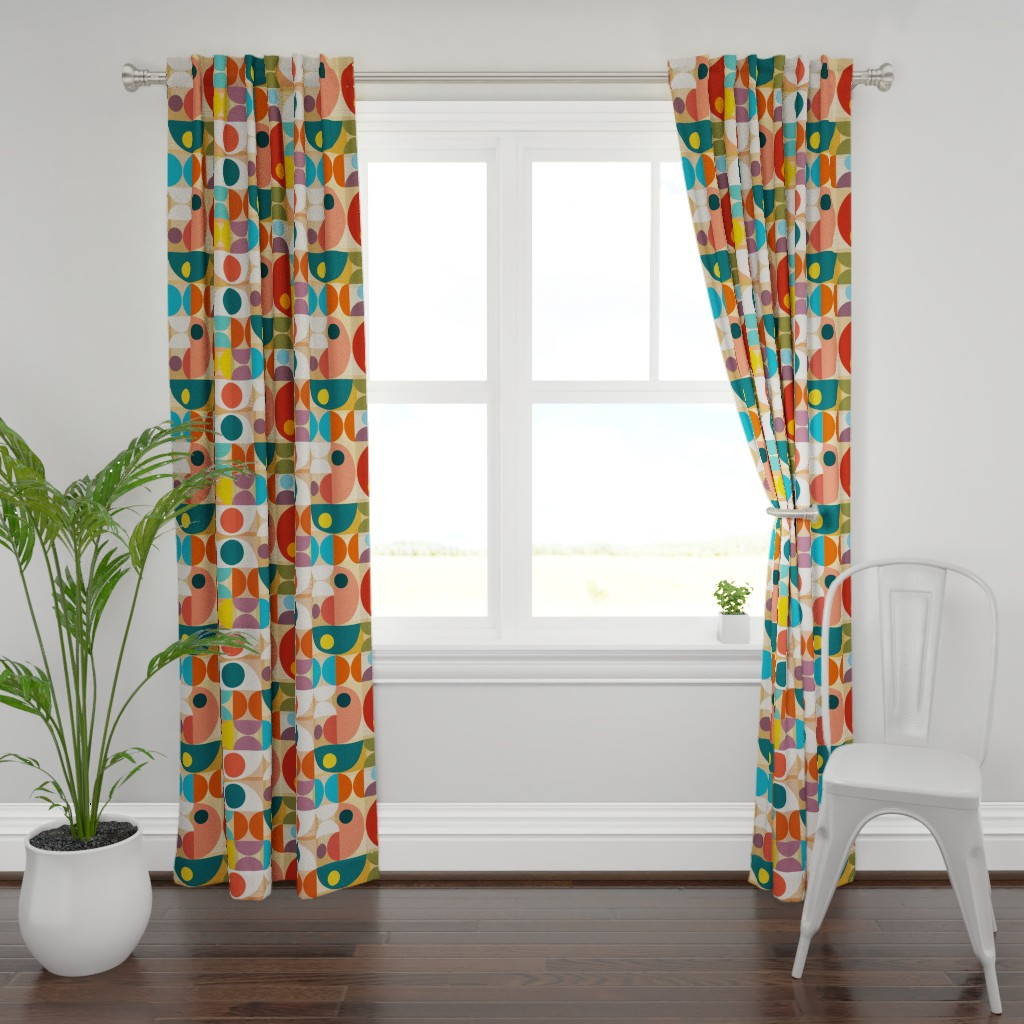 Plymouth Curtain Panel featuring Halves and Wholes  by sharsu