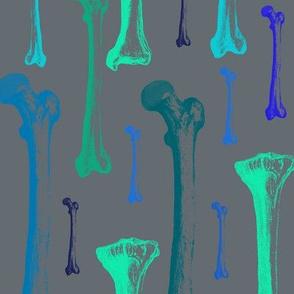 Bones blue colors on dark grey background