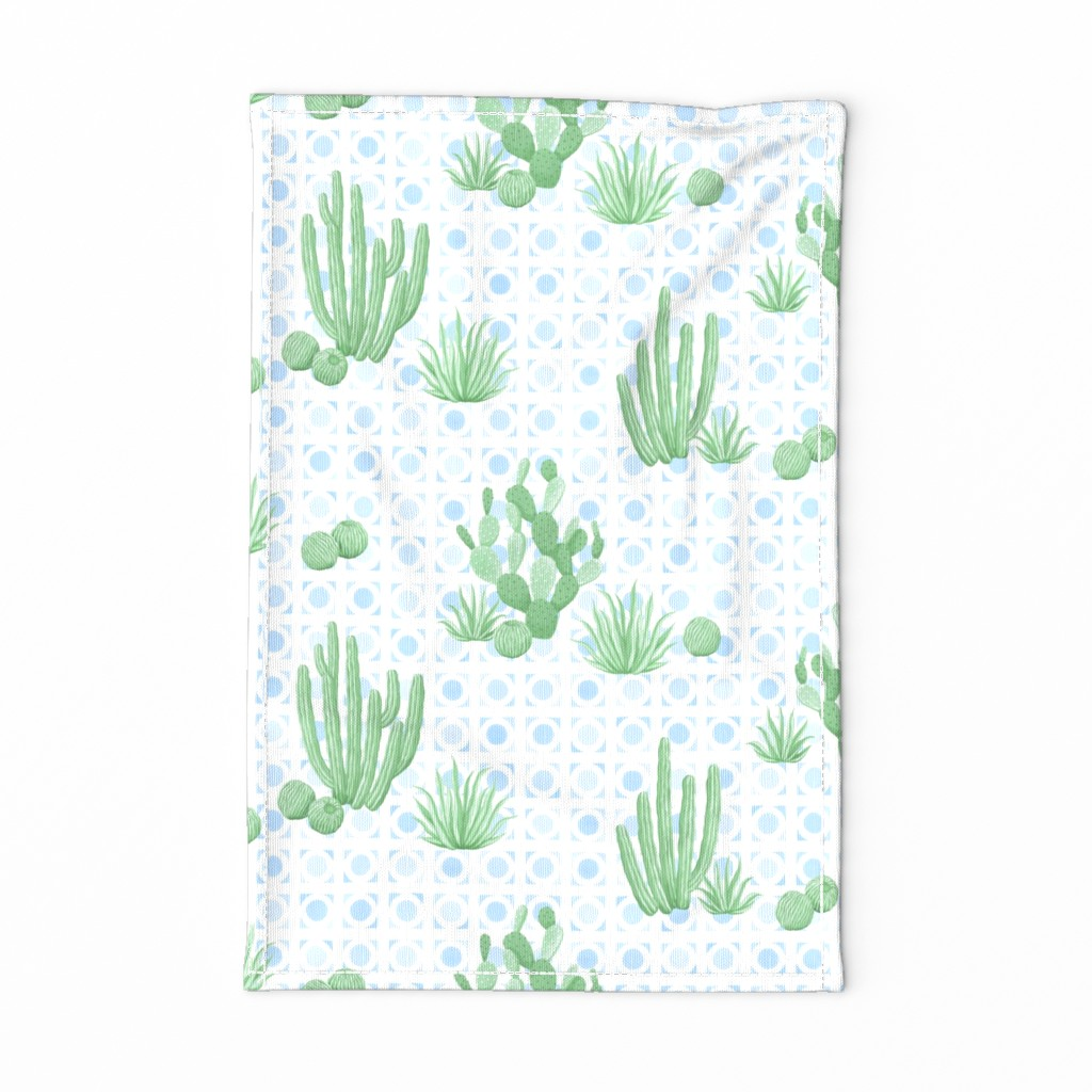 Special Edition Spoonflower Tea Towel featuring Modern Desert Cactus blue rotated by hannahshields