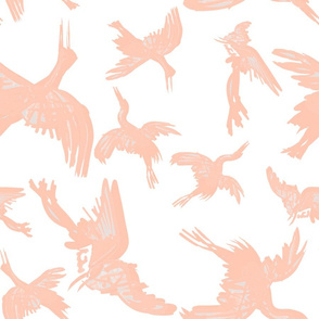 Cranes Flight of Feathers plain peach white