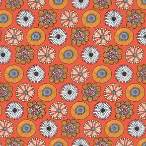 retro blooms orange