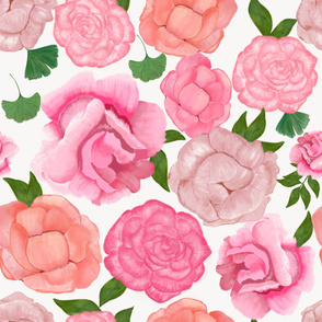 Gulsen Gunel Artistic peony romantic pattern