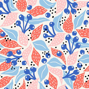 papercut collage pink blue coral