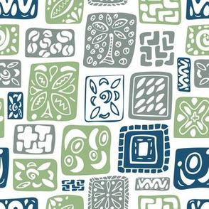 Little Boxes-Vintage: Blue green gray *medium version