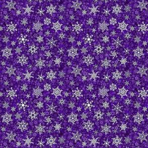 snowflakes - swirl designs on violet purple snowstorm