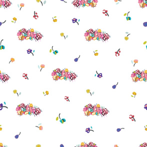 Hand Drawn Colorful Abstract Flowers