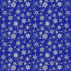 snowflakes - geometric designs on blue snowstorm