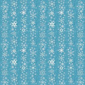 snowflake stripes - Christmas shapes on teal blue