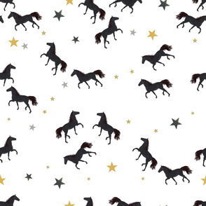 Black Horses With Stars Pattern