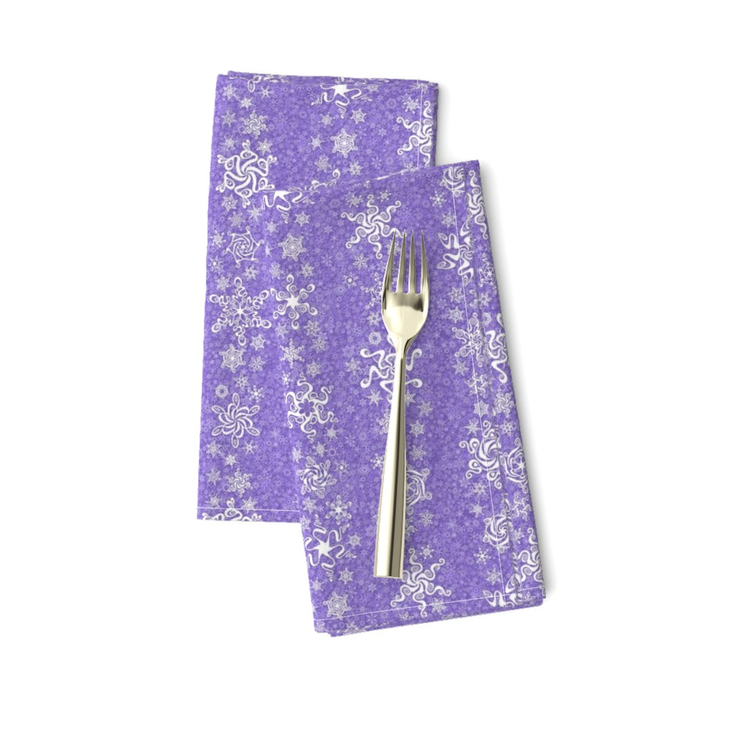 Amarela Dinner Napkins featuring snowflake stripes - swirls on violet wisteria purple by sarahkdesigns