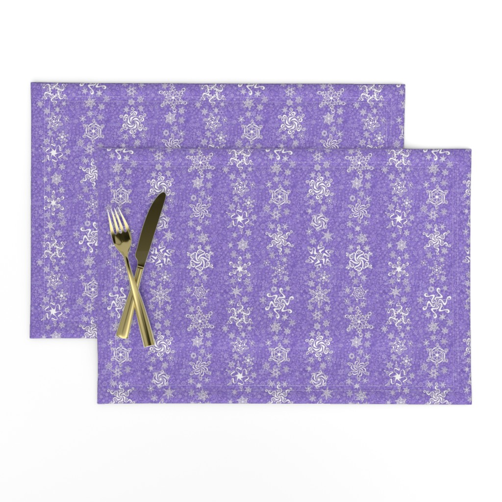 Lamona Cloth Placemats featuring snowflake stripes - swirls on violet wisteria purple by sarahkdesigns