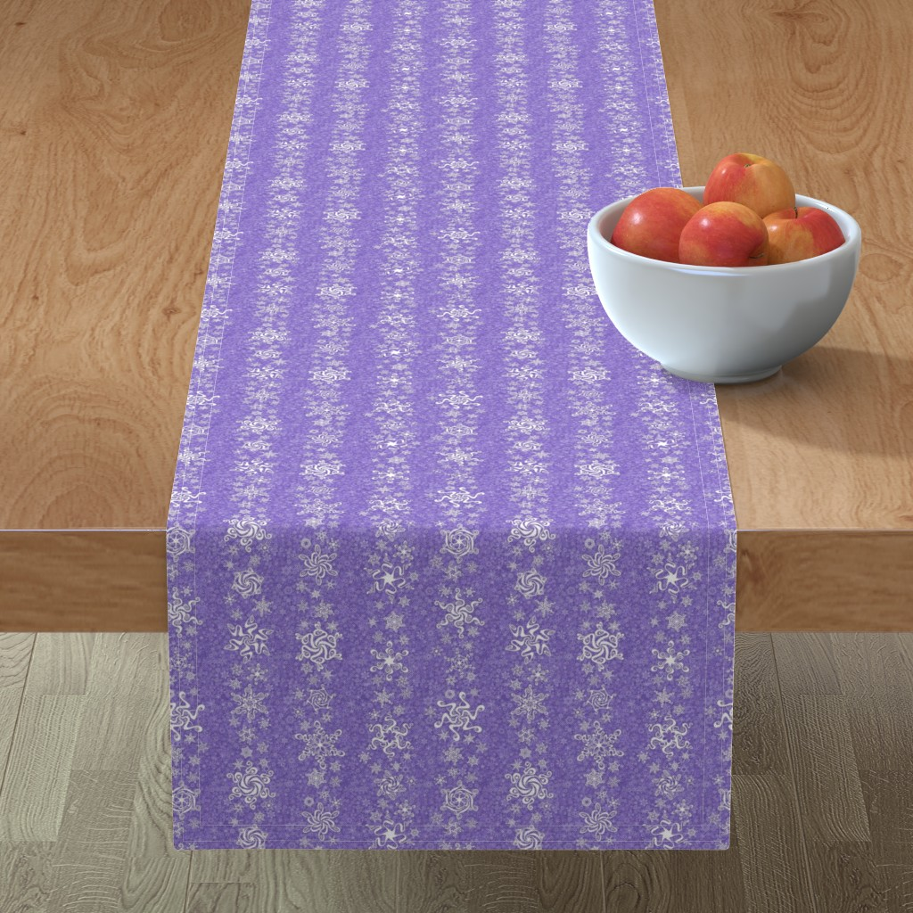Minorca Table Runner featuring snowflake stripes - swirls on violet wisteria purple by sarahkdesigns