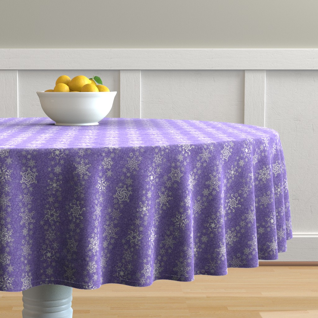 Malay Round Tablecloth featuring snowflake stripes - swirls on violet wisteria purple by sarahkdesigns